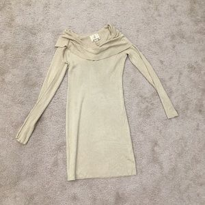 Gold ribbed cowl neck fitted long sleeve dress